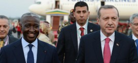 Gabonese Prime Minister Raymond Ndong Sima welcomes his then Turkish counterpart Tayyip Erdogan at the Libreville Airport, the first stop of Erdogan's three-nation African tour which also included Niger and Senegal in April 2013 / © TKR