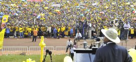 President Yoweri Museveni (backing the camera) addresses a mammoth crowd in January 2016 at a campaign rally in Kampala. The Ugandan leader, who has been in power since 1986, was re-elected to a new five-year term in February  © PPU