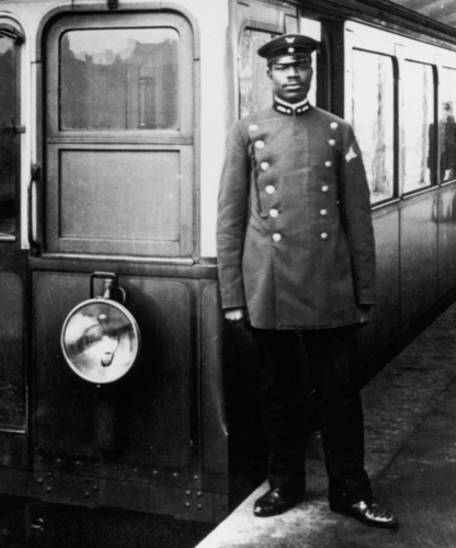 Cameroon-born Martin Dibobe, train conductor, at the U-Bahnhof Schlesisches Tor, Berlin ca. 1908. Many Africans came to Germany from its colonies in the continent. Germany would lose its colonies as part of the treaty ending World War I in 1918│Stadt Berlin