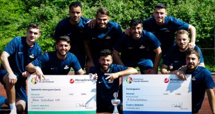 After a vigorous and sweaty duels between the migrants soccer competitors at the final tournament, the '#Notorasismus' a team of  Kosovo migrants from Munich emerged as the winner of the Cup der Nationen 2016 │© Za Media