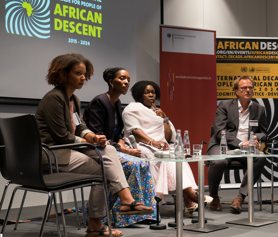 "From left to right: Lioba Hirsch, Elizabeth Kaneza (the Decade's Fellow for Germany), Virginia Wangare-Greiner and Dr Hendrik Cremer discussing the ""Experiences of People of African Descent in Germany"" │ © Peter Groth/Engagement Global"
