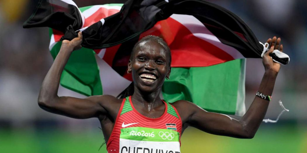 Kenya's Vivian Cheruiyot celebrates after beating highly favoured  Almaz Ayana of Ethiopia in the 5,000 meter race to claim a shock win. Kenya went home with six gold medals, six silver and one bronze, marking the most wins of any African team at the 2016 Games as well as the best Olympic performance in Kenya's history / © TAB