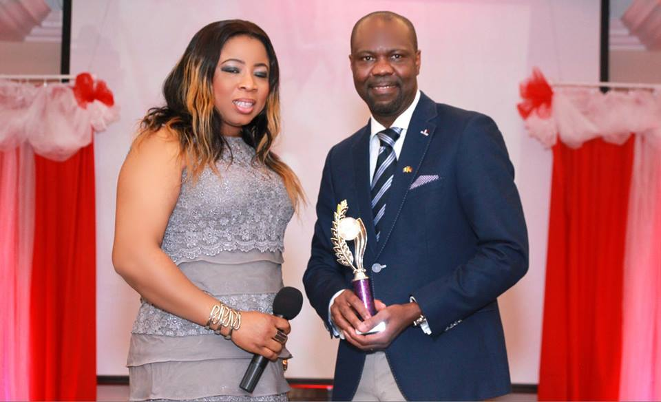 Kenneth Gbandi (right) receives the Best International Creative Director 2016 prize at the International Runway Achievers/Recognition Awards in the Irish capital, Dublin, recently. The NIDO Germany president has received many awards for his contributions to the Nigerian Diaspora in Europe