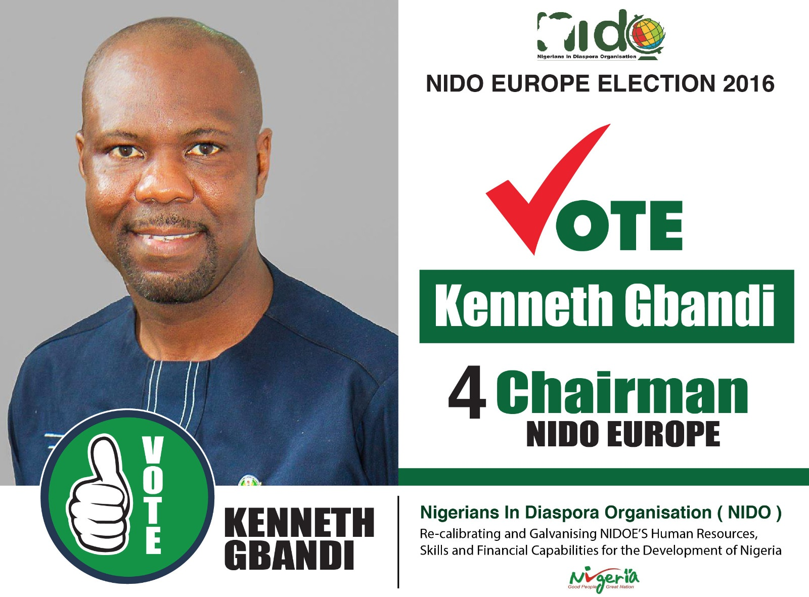 Kenneth Gbandi's campaign poster. He's contesting for the chair of NIDO Europe