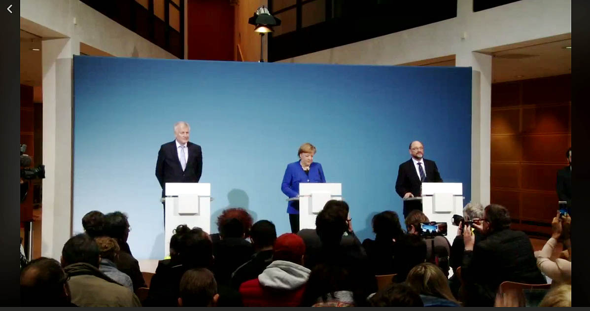 Germany main points of coalition blueprint agreed by cducsu and schulz and csus horst seehofer address a press conference friday in berlin where they presented the coalition blueprint photo screenshot youtube malvernweather Gallery
