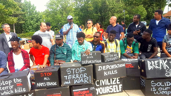 Activists protest against Germany's plan to deport Nigerians